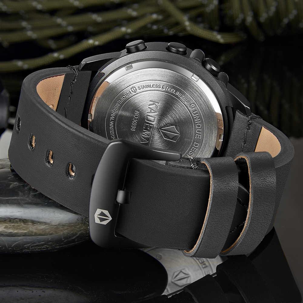 KADEMAN teknoloji dijital saat moda spor erkekler kol saatleri adımları sayaç 3ATM rahat deri saat lcd ekran Relogio Masculino