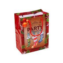 12pcs Christmas Gift Bags Santa Socks Tree Paper Carrier Present Shopping Bag