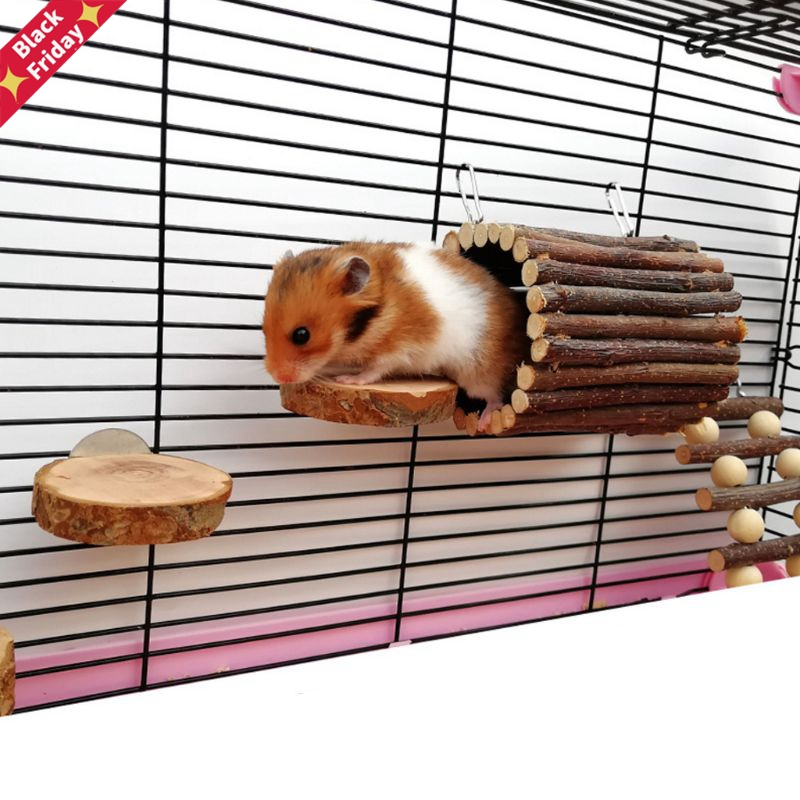 Wooden Animal Hanging Tunnel Hook for Rabbit Ferret Hamster Guinea Pig Small Pet Exercise Tube Cage Accessories