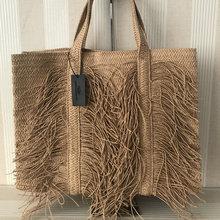 Large Capacity Tassel Straw Bag Women Shoulder Bag Handmade Woven Women Handbag Big Bohemia Beach Straw Women