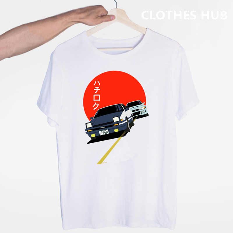Drift Anime Jepang AE86 Initial D T-shirt O-neck Lengan Pendek Musim Panas Kasual untuk Pria dan Wanita Tshirt