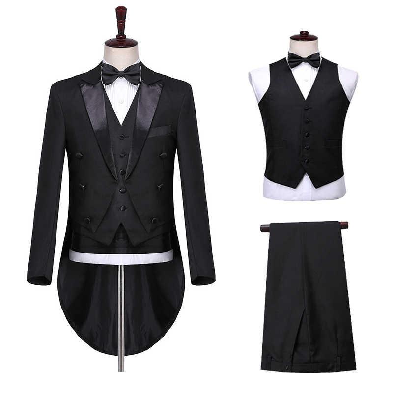 Shinglun hombre clásico 3 piezas de cola negro blanco boda esmoquin novio traje de fiesta de negocios baile de graduación cantante bailarina vestido de escenario