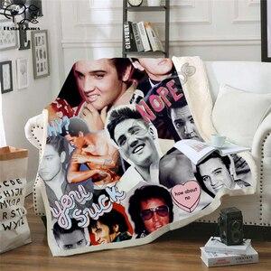 Image 5 - אלביס שתוקנה עיצוב שמיכת קטיפה 3d מודפס למבוגרים ספה שרפה צמר כיסוי מיטה לעטוף לזרוק שמיכת מיקרופייבר 11