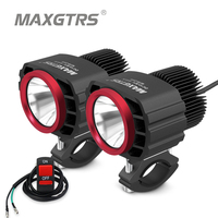 MAXGTRS 2pcs LED Motorcycle Spotlights Headlight 25W 4250Lm Moto Bike Fog DRLs Headlamp 4x4 Offroad Work Drive Spot Lights