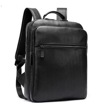 Simple New Backpack Men Genuine leather Business Bags For Men High Quality Laptop Backpack Male Shool Bags For Teenager Boys