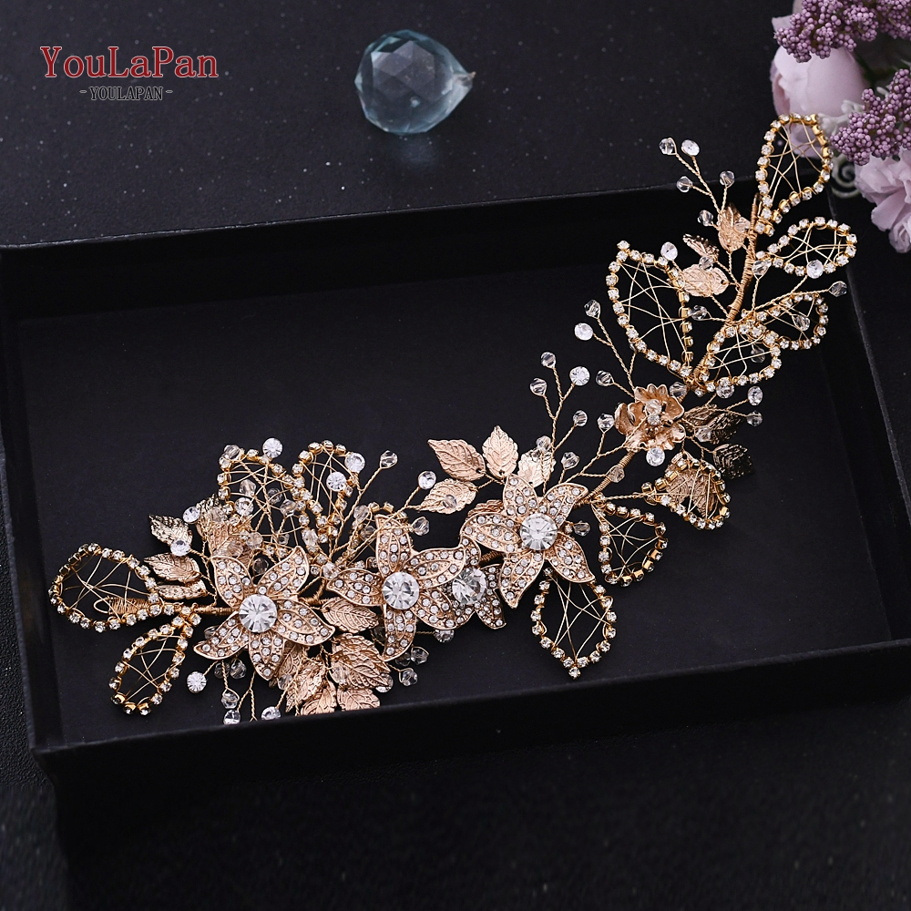 YouLaPan Rhinestone Forehead Wedding Hair Accessories Beauty Queen Crowns Bridal Luxury Headband  Wedding Headpieces HP282