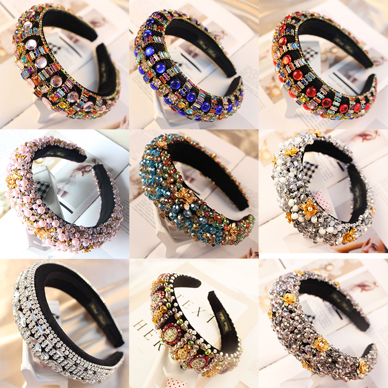 44 Styles Luxury Baroque Sparkly Padded Rhinestones Headbands Full Crystal Hairbands Wide Headwear White Hair Accessories Women