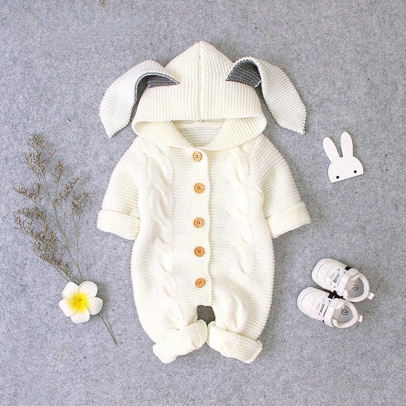 Осенняя одежда для новорожденных, кардиган с капюшоном, детские комбинезоны, одежда для маленьких девочек и мальчиков, модный костюм для младенцев, детский вязаный комбинезон для малышей 3