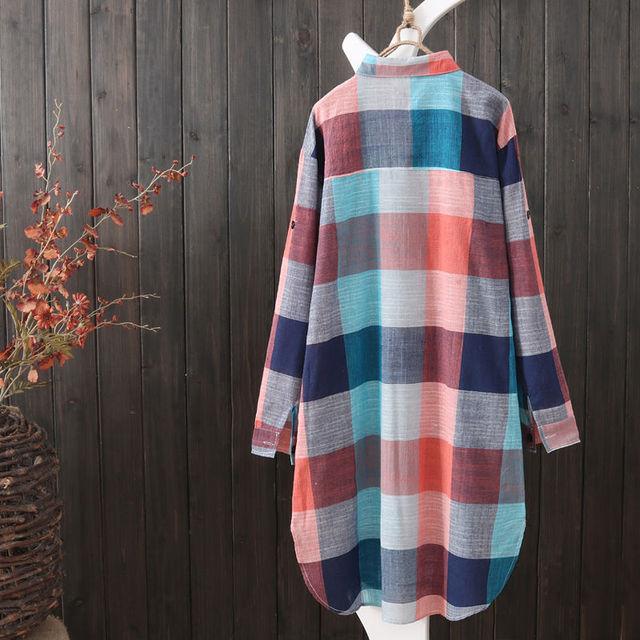 Summer Autumn Fashion Oversized 5xl Long Plaid Shirt Women Chic Checked Blouse Long Sleeve Female Loose Casual Shirts  Blusas 2