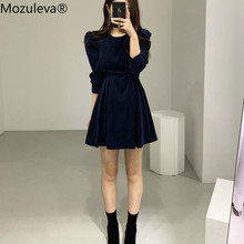 Mozuleva Women O-neck Puff Sleeve Solid Dress Lace-up Slim Waist Ladies A-line Velvet Dress Fashion Casual Female Dress Vestidos(China)