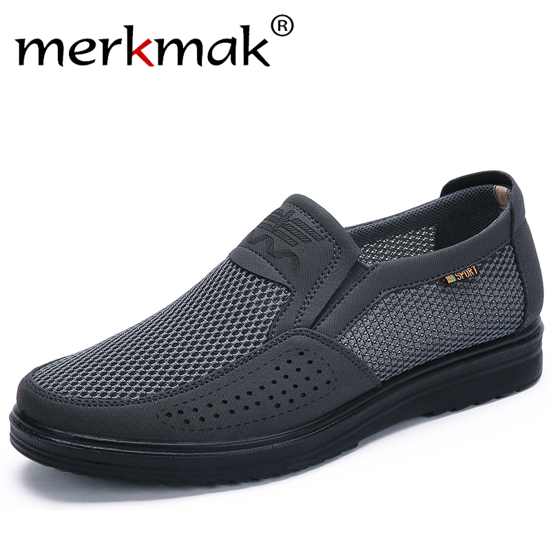 Merkmak 38-48 Men's Casual Shoes Men Summer Style Mesh Flats Men Loafer Creepers Casual High-End Shoes Very Comfortable Shoes