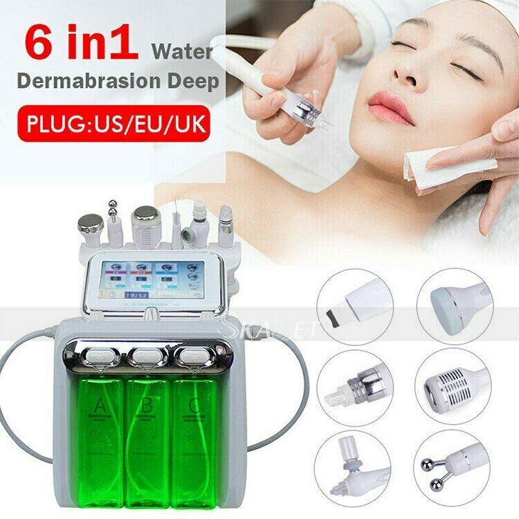 6 In 1 Hydra Dermabrasion BIO Light RF Vacuum Face Pore Cleaning Skin Care Water Oxygen Jet Peel Machine