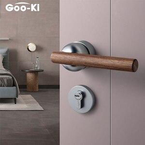 High Quality Black Walnut Door Lock American Style Bedroom Door Lock Interior Door Handle Furniture Indoor Door Handle Lockset()