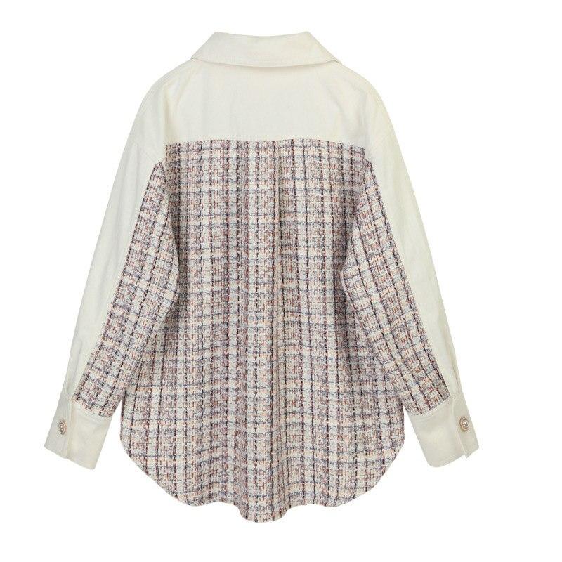 Automne Plaid Blouse chemise femmes perle bouton épissé revers Blouse pour femmes à manches longues lâche Fit mode marée femme chemise - 2