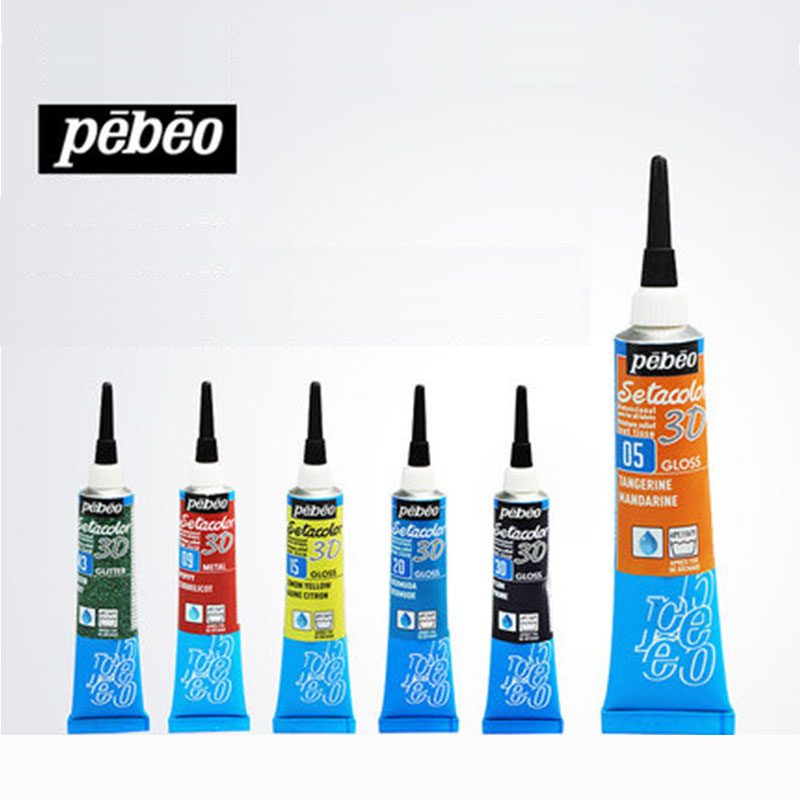 Pebeo 3D Fabric Paint Set 20ml DIY Fine Liner Pen Waterproof Outliner For Craft Painting Textile Clothing Graffiti Art Supplies