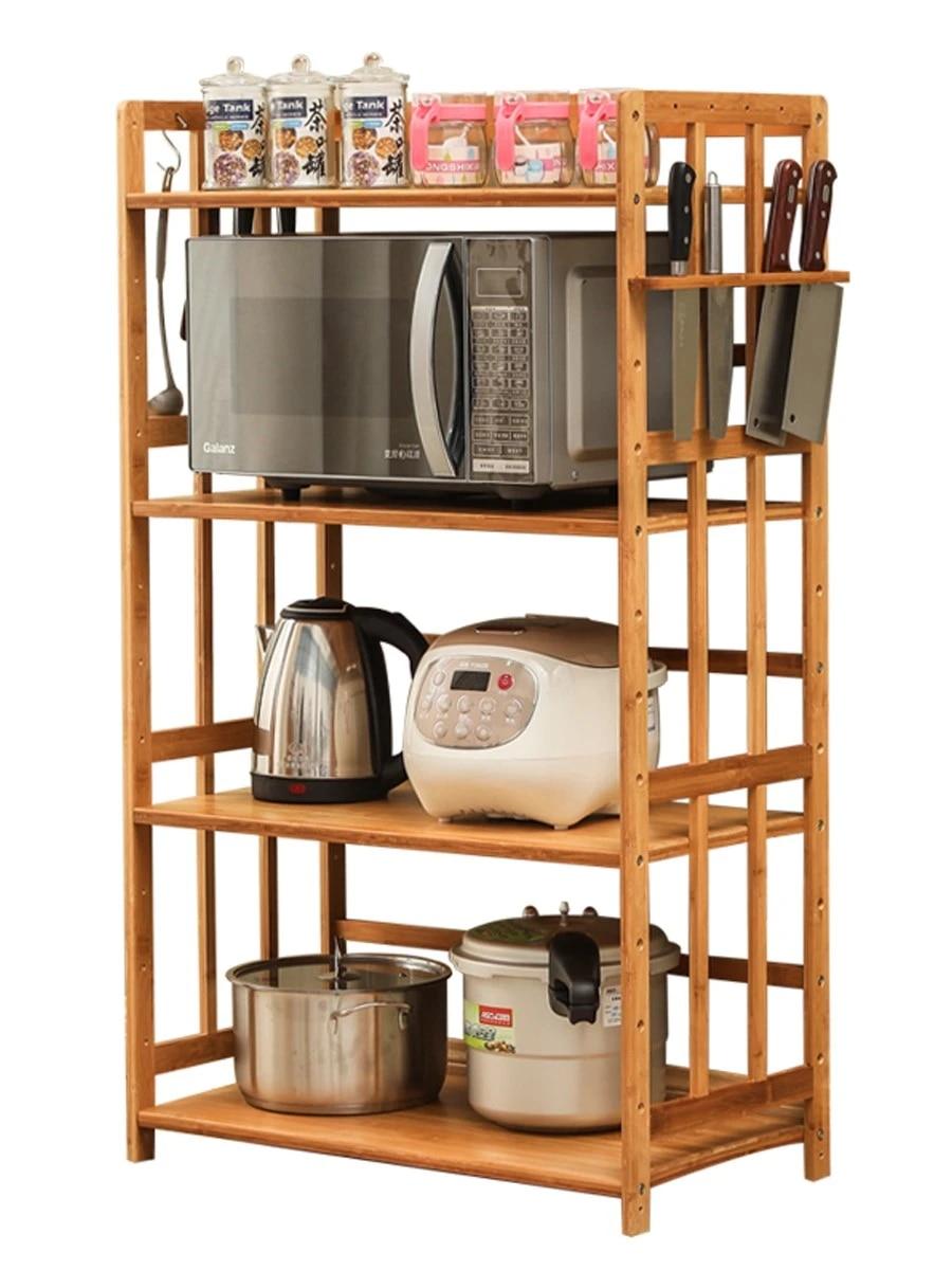 Solid Wood Kitchen Shelf Multifunctional Seasoning Storage Nanzhu Household  Double Layer Oven Appliance