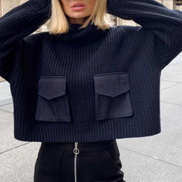 2019 Autumn Winter Women Sweaters Pullover Knitted Turtleneck Solid Big Pocket Minimalist Elegant Female Sweater Lady Loose Tops