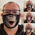 Маски для лица для взрослых с забавным принтом «Горилла» и «Тигр», маски из хлопковой смеси, моющиеся маски, маски для лица, маски для лица, П...
