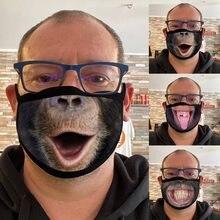 Adultos máscaras boca gorila tigre engraçado impresso mistura de algodão máscaras lavável mascarillas rosto escudo masque máscaras faciais navio da gota