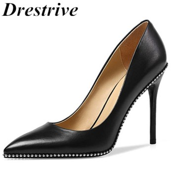 Drestrive Customized Women Pumps Beaded Pointed Toe Thin Heel Slip On 2020 Spring Female High Heel Shoes Black Big Size 30 cm image