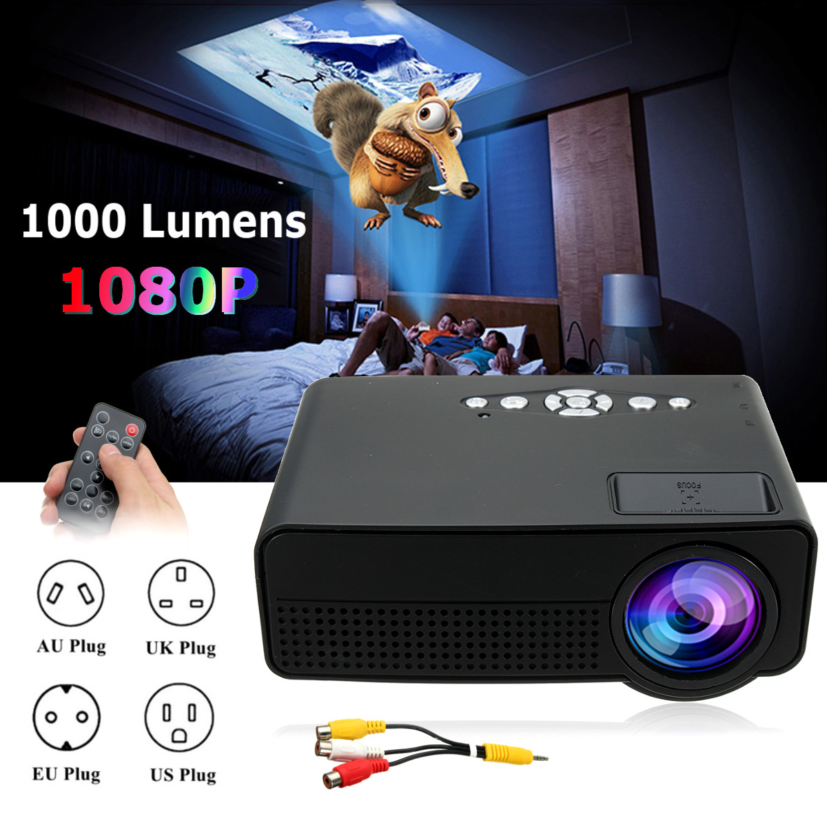 LEORY Portable 7000 Lumens HD 1080P 3D Multimedia Projector LED Home Theater HDMI USB Home Theatre System