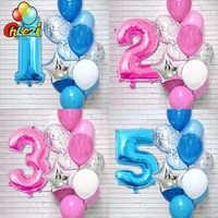 12 Uds. Número azul Rosa globos de látex y papel de aluminio Digital 1 2 3 años decoración de fiesta de cumpleaños niños juguetes niña niño globos para Baby Shower