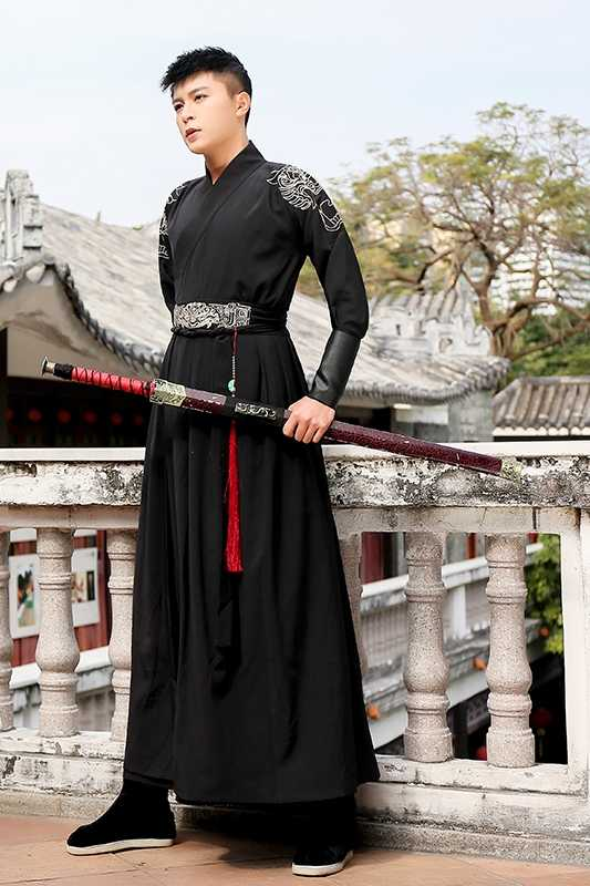 Chinese Oude Kostuum Hanfu Jurk Traditionele Klassieke Kleding Tang-dynastie Volwassen Zwaardvechter Gewaad Mannen Halloween Kostuum