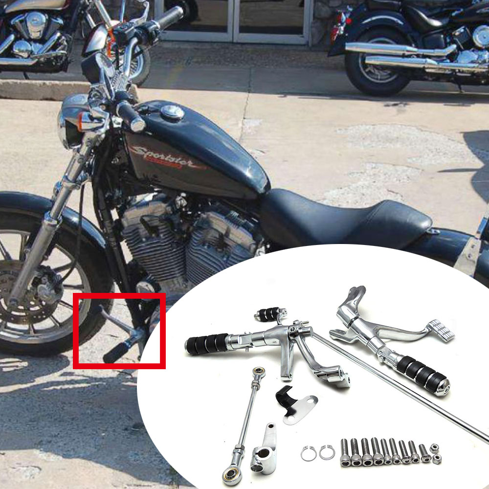 Motorcycle Forward Controls Levers Linkage Foot Rests For Sportster 883 1200 Custom Iron Superlow XL1200N XL1200X 2004-2013