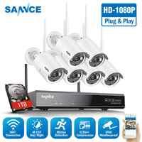 SANNCE 1080P 8CH sistema de cámaras de seguridad inalámbrico 6 uds IP66 impermeable Interior Exterior Wifi conector de cámaras-and-Play Wi-fi Kit CCTV