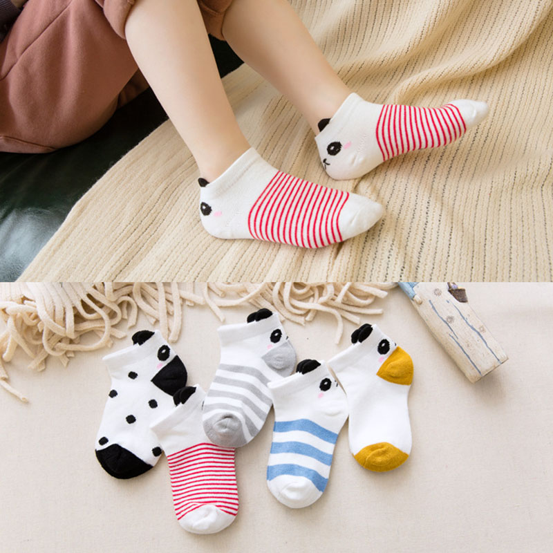 5Pair/lot Cute Unisex Baby Socks Kids Short Sock For Infant Cartoon Panda Toddler Girl Socks Boy Cotton Striped Dot Socks