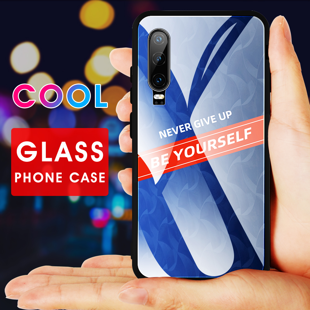 Gradient Tempered Glass Phone Case For <font><b>Huawei</b></font> <font><b>P30</b></font> P20 <font><b>Lite</b></font> <font><b>P30</b></font> Pro P Smart Z 2019 Vintage Stained Pattern <font><b>Smartphone</b></font> Cover Cases image