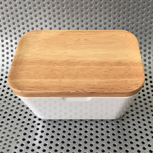 Butter Dish with Bamboo Lid, White Melamine Butter Keeper Butter Container Food Snacks Storage Candy Box,  Large Butter Holder