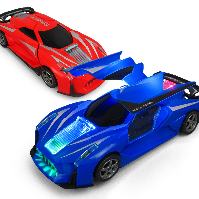 Children'S Educational Electric Universal China Mobile 360-Degree Rotating Double Door Light Music Toy Sports Car Night Market H