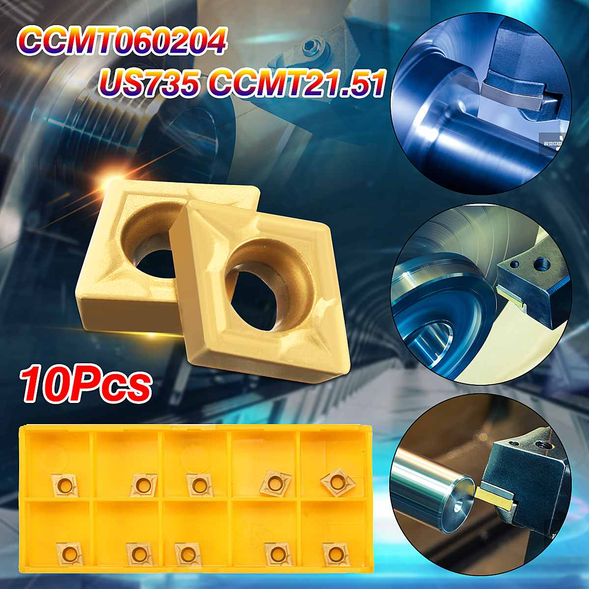 10Pcs CCMT060204 US735 CCMT21.51 CNC Carbide Inserts For Steel/Stainless Steel
