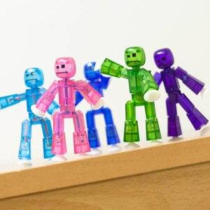 Image 2 - 1 sztuk przyklejony Robot zabawki figurki akcji z Sucker plastikowe chłopca Playhouse śmieszne odkształcalne Stickbot zabawki dla dzieci prezenty bożonarodzeniowe
