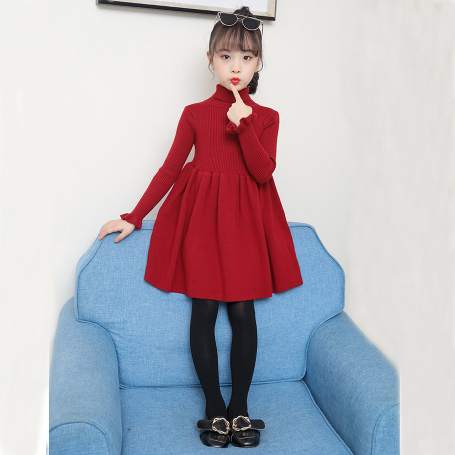 Image 3 - Girls Dress Solid Knitted Dress Girls Turtleneck Sweater Dress Girl Autumn Winter Kids Girls Clothes 6 8 10 12 14 YearDresses   -