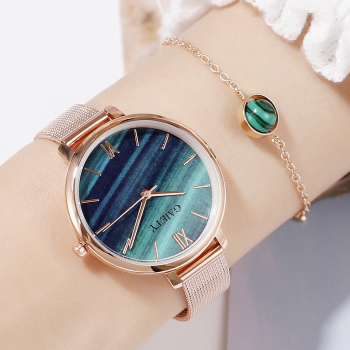 Gaiety Luxury 2 PCS Set Watch Women Rose Gold Water Drill Bracelet Watch Jewelry Ladies Female Hour Casual Quartz Wristwatches 1