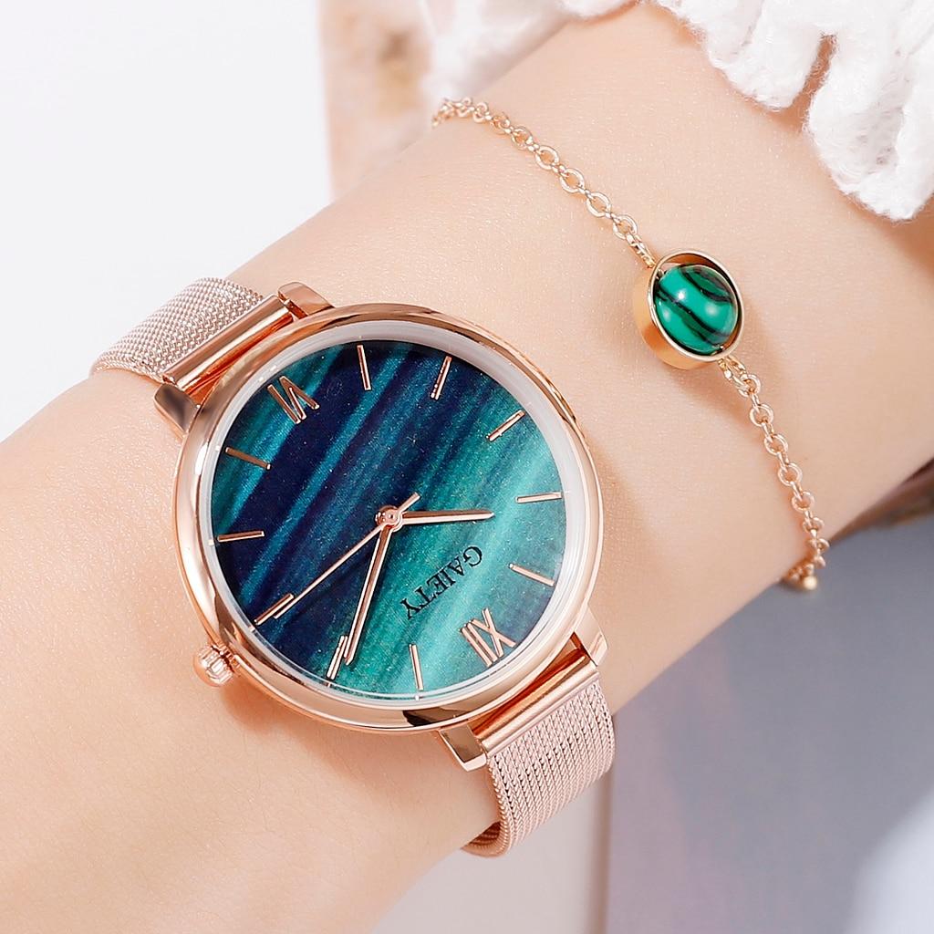 Gaiety Luxury 2 PCS Set Watch Women Rose Gold Water Drill Bracelet Watch Jewelry Ladies Female