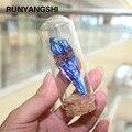 Runyangshi 1pc turmalina de cristal natural galvanoplastia azul pavão cauda pena decorativa paisagem garrafa