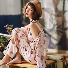 Silk like Pajama womens spring and autumn summer thin Korean sexy ice silk three piece household clothes set sil