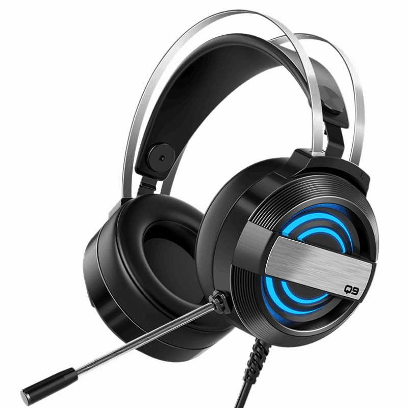 Q9 Gaming Headset USB Headset Noise Reduction Headset, Breathing Light Computer Headset with Microphone