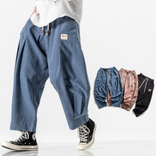 2020 Men Harem Pants Japanese Casual Cotton Linen Trouser Man Jogger Pants Male Chinese Baggy Pants Loose Sweatpants Streetwear(China)