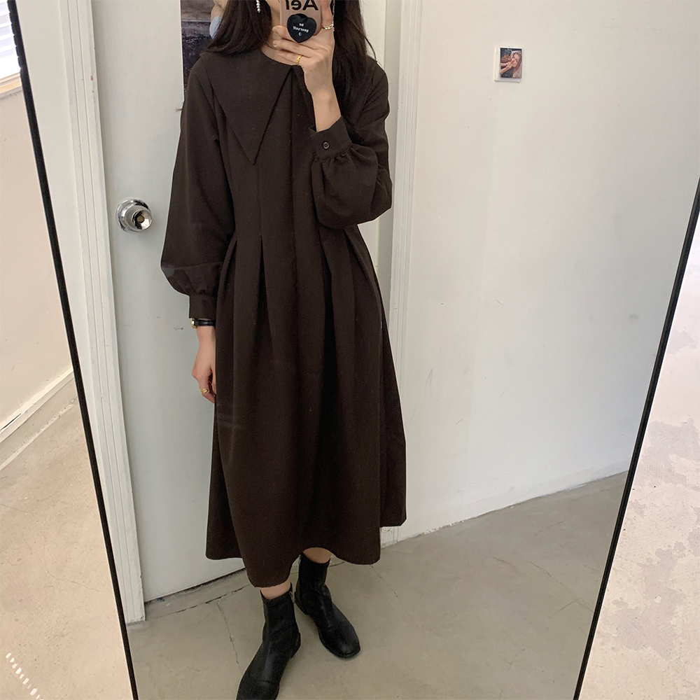 He9bf7fbdcbda40b5a21e03deb22c948es - Autumn Big Lapel Collar Long Lantern Sleeves Solid Loose Midi Dress