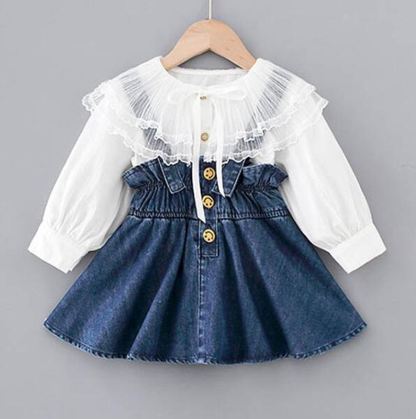 1-5Y Kids Baby Girl Clothes Suits Princess Kids Girls Outfits Spring Blouse Tops Overalls Strap Denim Dress Girls Set