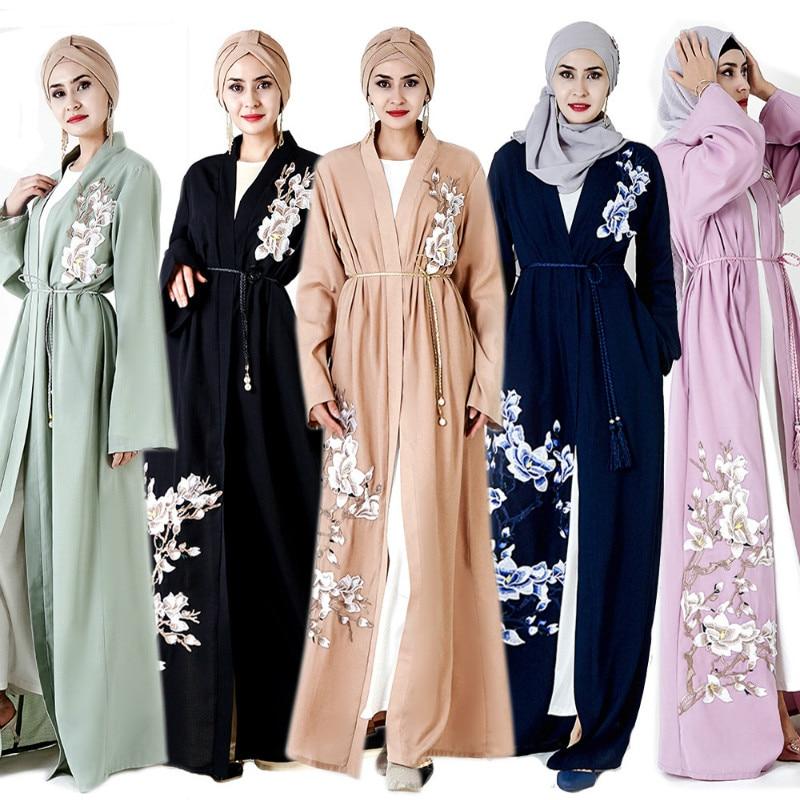 Fleur broderie Abaya Robe dubaï Robe musulmane turquie Abayas pour femmes Qatar Caftan Caftan Ramadan Elbise vêtements islamiques