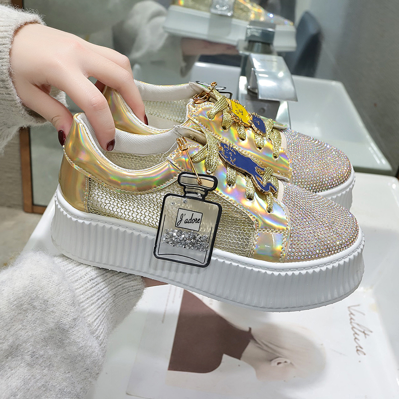 2020 Women Platform Chunky Sneakers Designers White Pink God Bling Mesh Woman Casual Shoes Fashion Sports Vulcanized Shoes