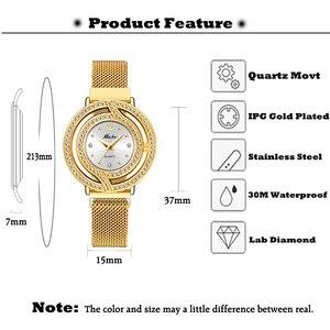 Image 2 - Часы MISSFOX женские, полые золотистые модные наручные, с миланским сетчатым браслетом, с бриллиантами, для мужчин и женщин