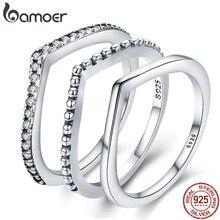 BAMOER-Anillos de plata de ley 925 con zirconia, anillos de compromiso con zirconia cúbica, estilo gota de agua, para mujeres