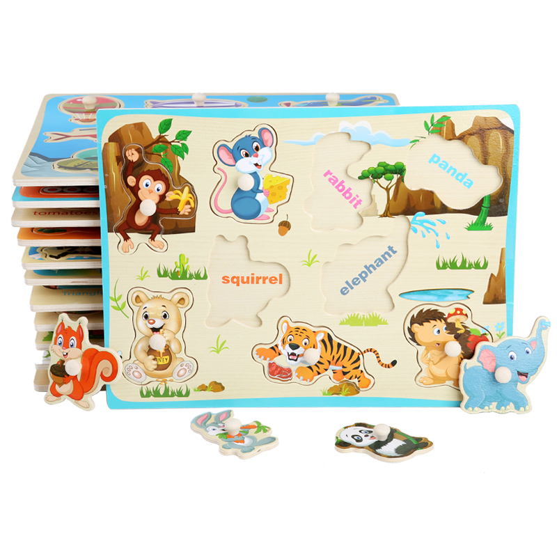 Baby Toy Wooden Puzzle/Hand Grab Board Set Cartoon Vehicle/ Marine Animal Educational Wooden Toy Montessori Puzzle For Children