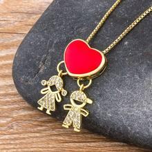 Collier ras du cou pour garçon et fille, chaîne de famille rouge/noire, en cuivre CZ, cadeau de bijoux pour Couple, Offre Spéciale